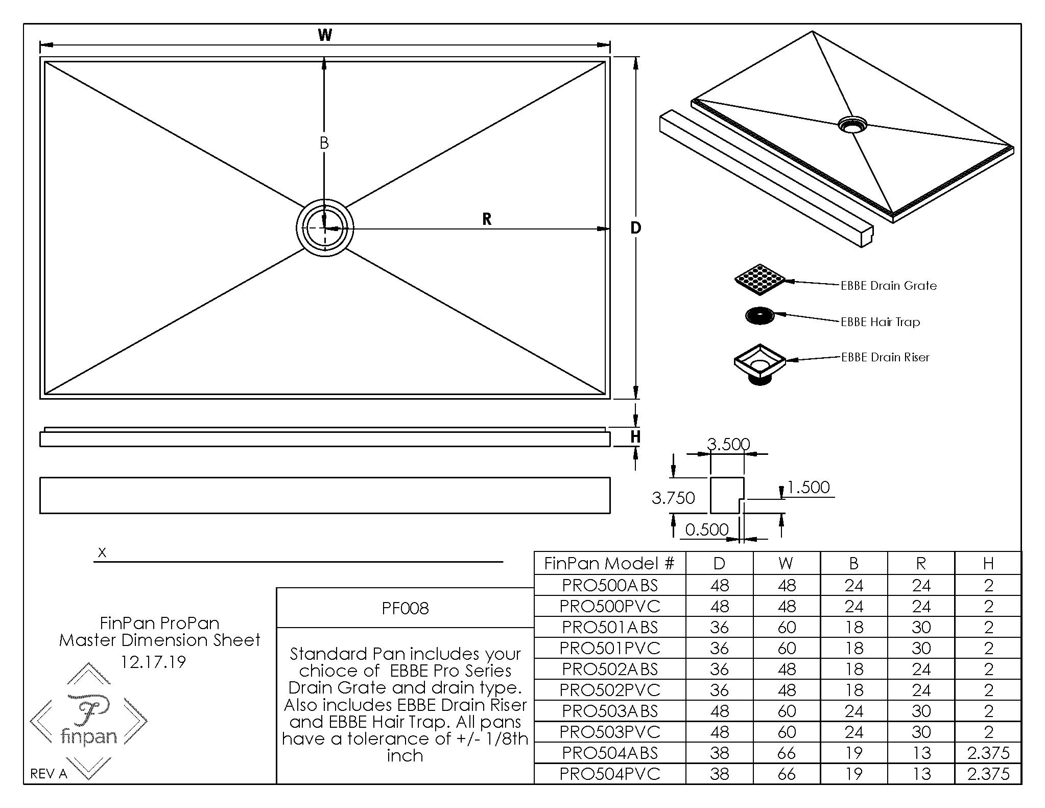 ProPan Master Dimension Sheet